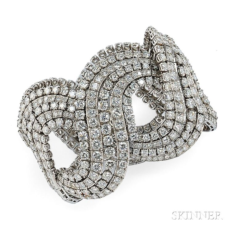 Platinum and Diamond Bracelet | Sale Number 2746B, Lot Number 457 | Skinner Auctioneers