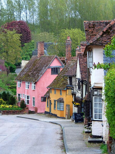 "The village of Kersey. ""From picture-perfect Tudor villages with half-timbered, pink-washed cottages to market towns with a wealth of historical buildings, Suffolk's settlements are as much a draw as the attractive countryside that surrounds them."" Suffolk: the Bradt Guide; www.bradtguides.com"