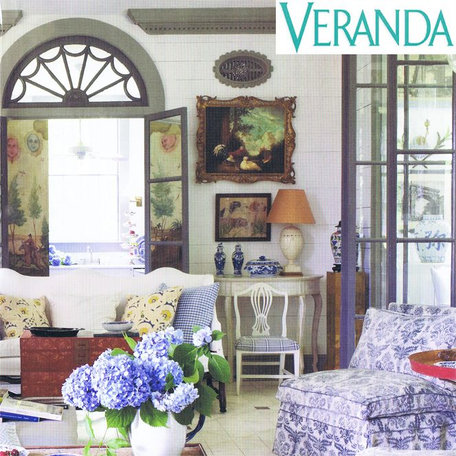 In this month's Veranda Magazine designer Furlow Gatewood exhibits his 'Country Flair' in this enchanting room that was once a green house.  We are delighted that he chose le gracieux's Regello in 'Bay on Soft Blue' to cover the arm chairs, it compliments the hydrangea plants around which the house is designed, beautifully.