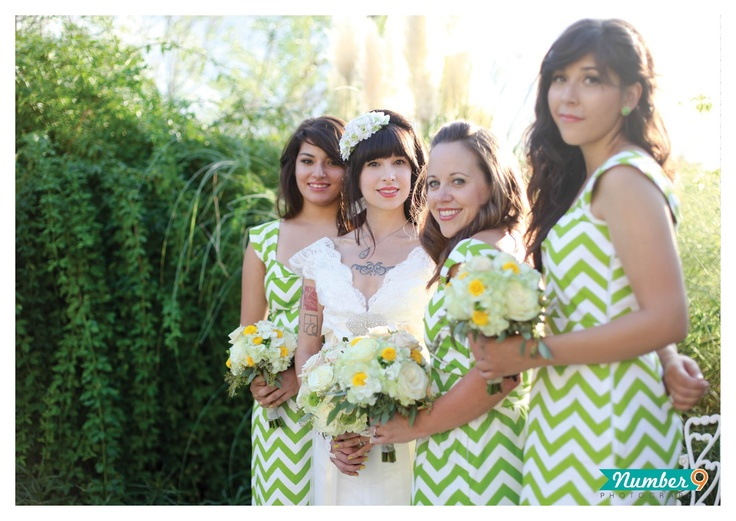 Green Chevron Bridesmaid Dresses | Number 9 Photography