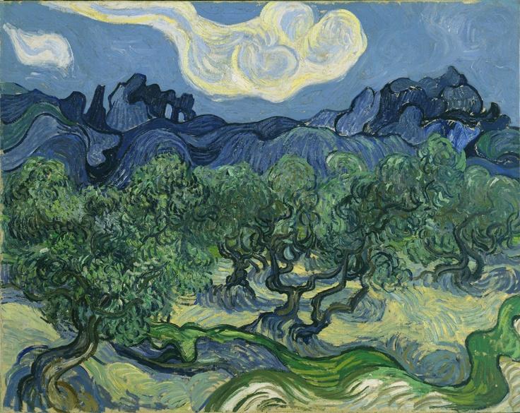 """""""Oliviers avec les Alpilles à l'arrière-plan"""" (1889) by Vincent Van Gogh. New York, Museum of Modern Art."""