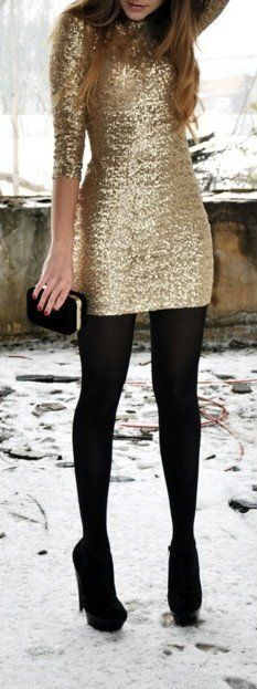 Gold Dress + Black Tights, perfect for holiday parties.