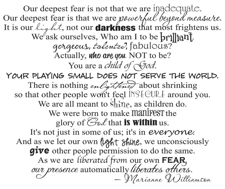 Image result for our deepest fear quote