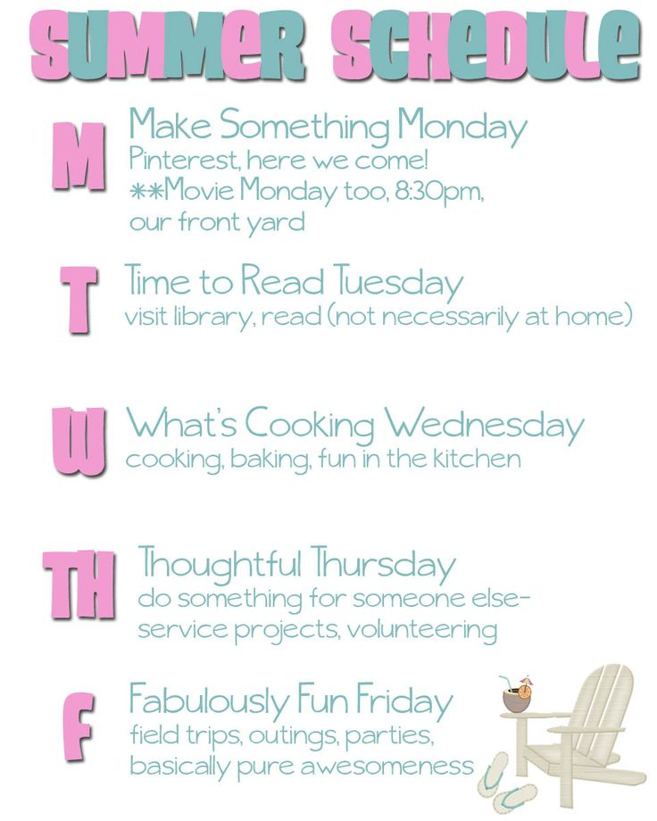 LOVE THIS!  daily summer activity chart!