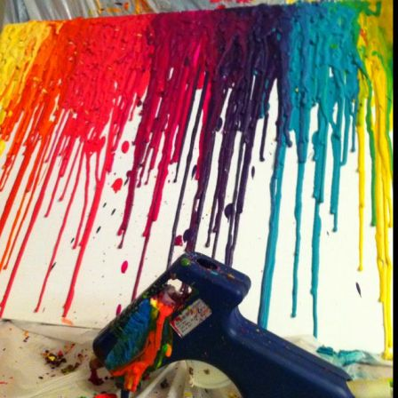 I can't get enough of melted crayons! My new way of relaxing after putting Luke down to sleep: crayons through a hot glue gun onto canvas. The. Best.