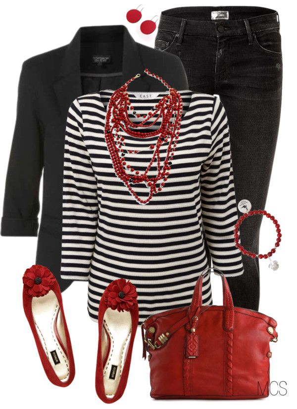 """""""Red and Black"""" Black blazer Black Jeans Red ballet flats Red leather purse Black and white stripes Red multi strand necklace  Red bracelet  Red earrings"""