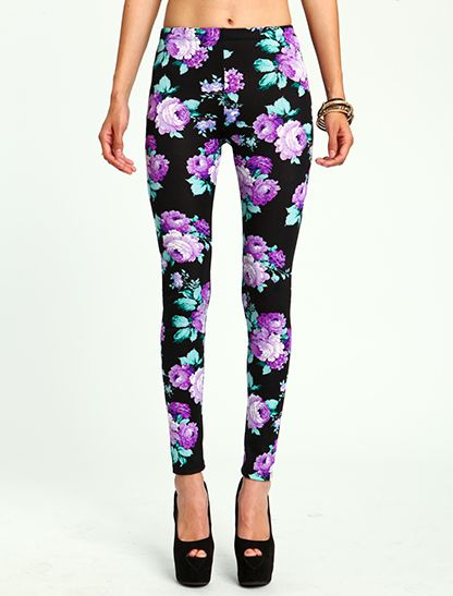 Purple Peony Print Leggings (though I doubt I would pair them with a belly shirt :),Cost21 street fashion, leggings, fashion leggings and tights, vintage leggings, leggings pants, retro leggings,cost21 leggings, starry night leggings, galaxy leggings,leather legging,white legging,jean legging,shiny legging Shop at www.cost21.com