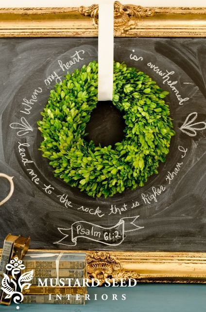 chalkboard and wreath