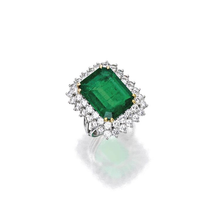 Platinum, Gold, Emerald and Diamond Ring | Lot | Sotheby's