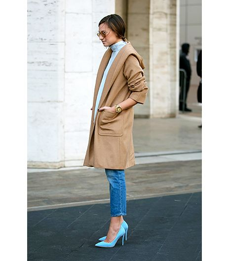 @Alexandra M What Wear - Preppy                 Rather than pairing your blue jeans, mock turtleneck, and camel coat with penny loafers, give pastel pumps a try. We love this look worn by Danielle Bernstein of We Wore What this month at New York Fashion Week.  Get The Look:  Gianvito Rossi Leather Pumps ($645) in Blue   Jaeger Longline Belted Wool Coat ($377) in Camel