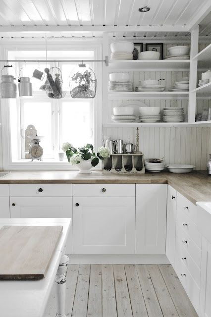 White Kitchen :: a bit too stark but I love the ideas in here