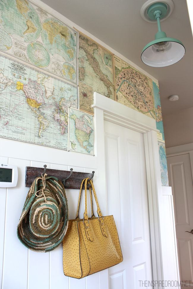 DIY nautical wallpaper (charts). Install them with the help of paste/mod podge or pins like this one. Sea all the creative ideas on Completely Coastal here: http://www.completely-coastal.com/2013/02/diy-maps-wallpaper.html