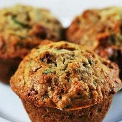 Zucchini Muffins Instead of sugar I used honey and instead of butter I used applesauce. I also used whole wheat flour and oats :) Yum!