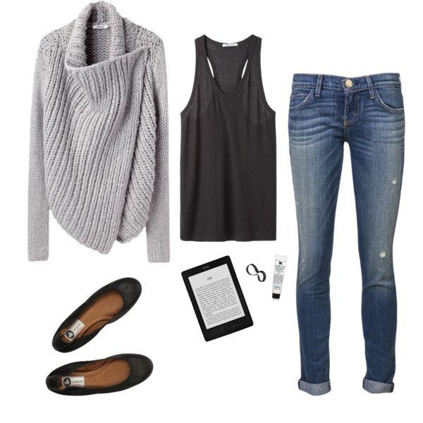 Casual-Helmut lang shawl, Alexander Wang tank, Current/Elliott jeans, Lanvin ballet flats