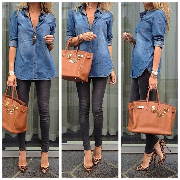 Denim shirt with black skinnies and animal print ...
