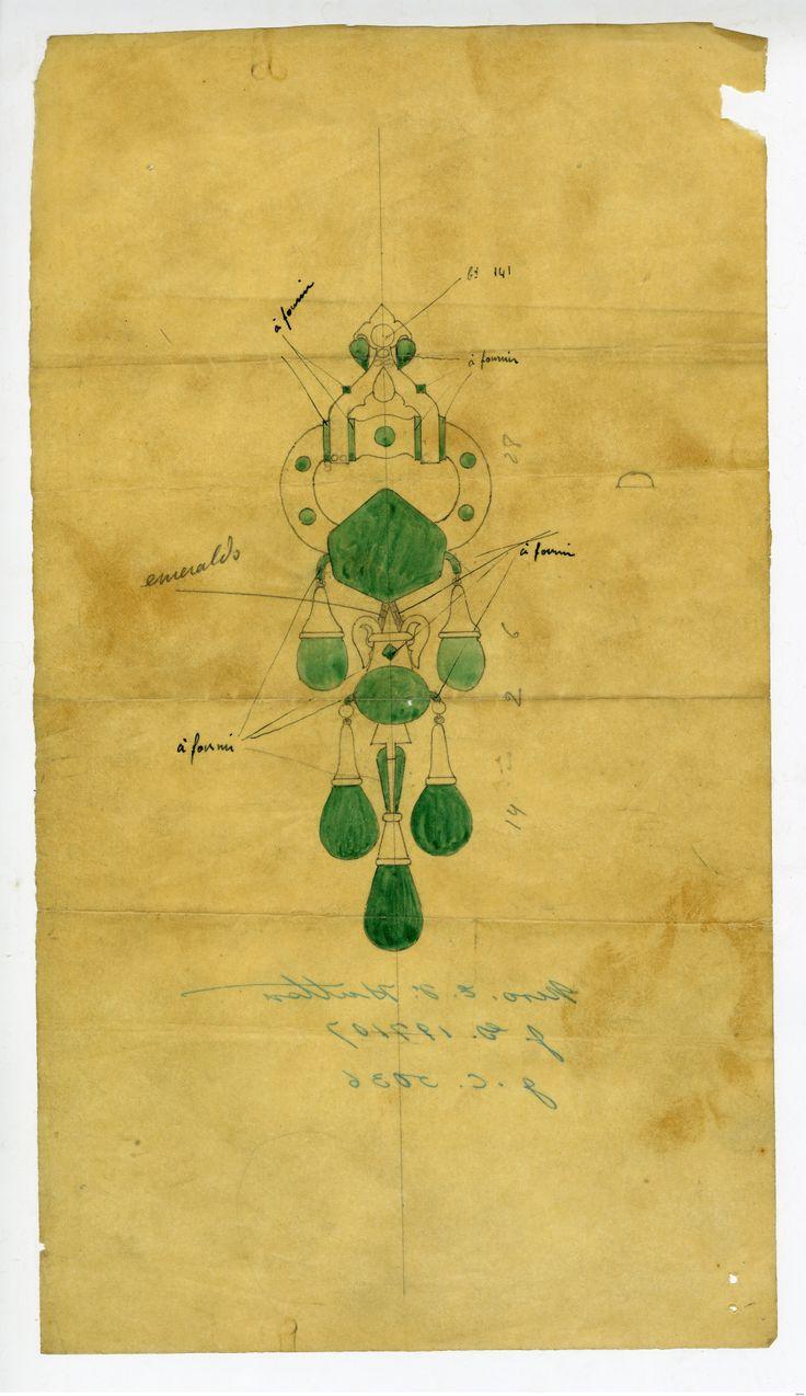 Cartier Emerald Brooch Drawing ~ Marjorie Merriweather Post