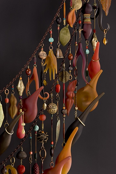 Jenny Pohlman and Sabrina Knowles, Artists, Memory Unchained - Tapestry Series (detail), 2008 blown, sculpted glass, beads, antique beads, nuts, seeds, pods, found objects, gold leaf, copper, brass, 74 x 57.5 x 11""