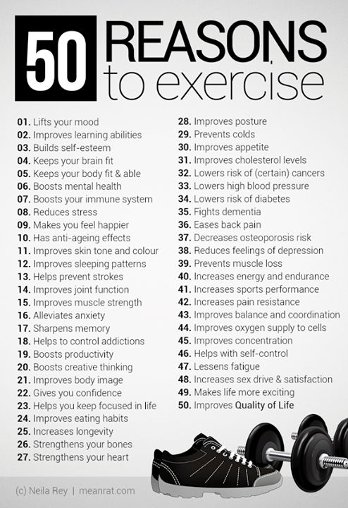 50 Reasons To Exercise #workout #health #fitness