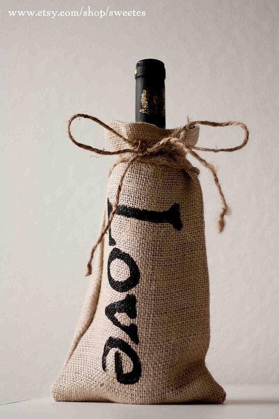 One bag of wine... coming right up! So simple, but oh so pretty! I love the little imperfections of each hand painted letter. It just makes it that much more personal.