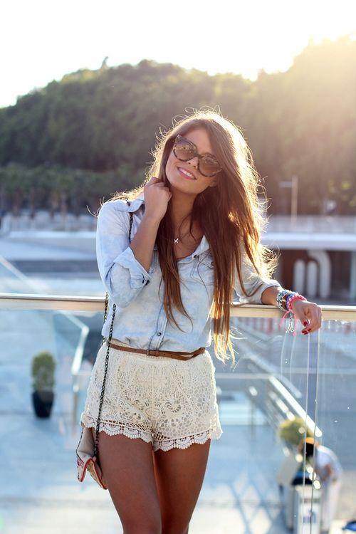 34 summer style inspirations. love the lace shorts with the jean top!