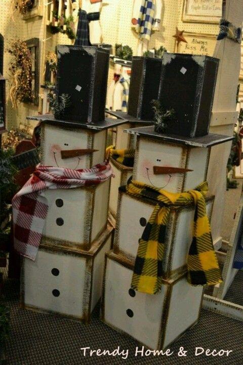 Wooden snowmen   Craft Ideas   Pinterest