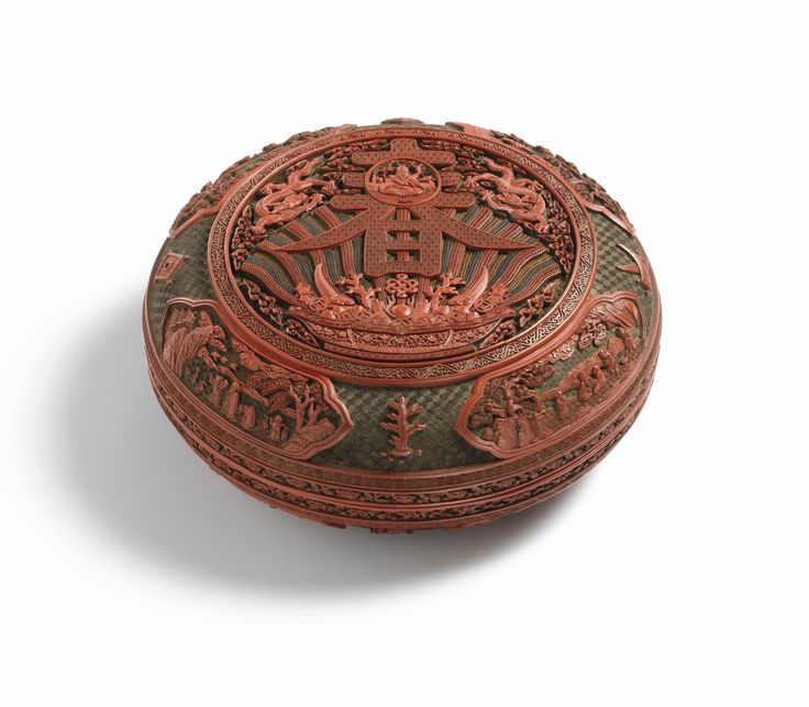 A finely carved polychrome lacquer 'chun' box and cover, Mark and period of Qianlong