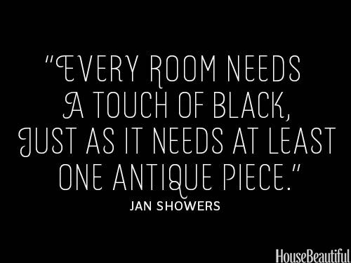 Add a Touch of Black. housebeautiful.com #quotes #decorator_quotes #black_accent #antique_accents #decorating