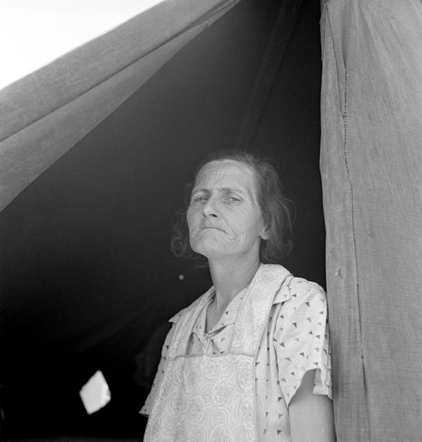Migrant woman from Arkansas living in contractor's camp near Westley, California.