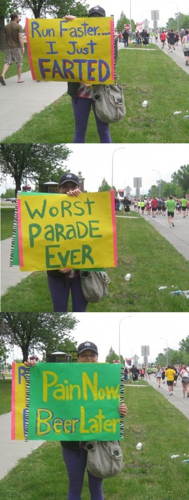 Hilarious running motivation at a marathon might have to do this for some of my longer distance friends