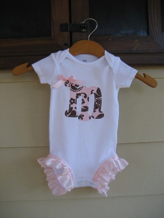 Onesie with Initial and Pink Leg Ruffles - long sleeve or short sleeve - newborn to 24m