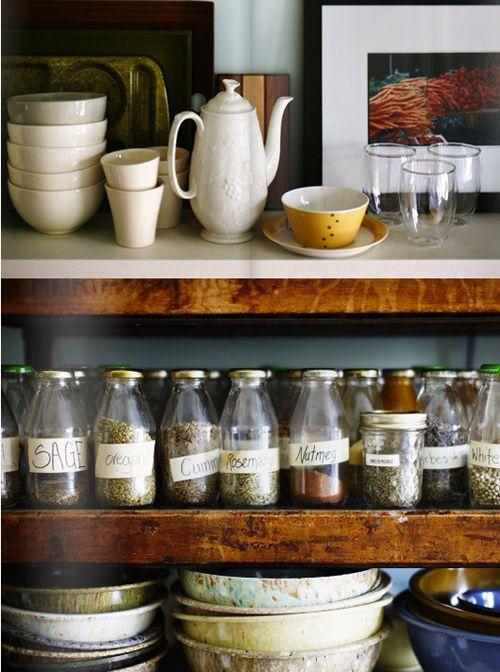 open shelf in kitchen