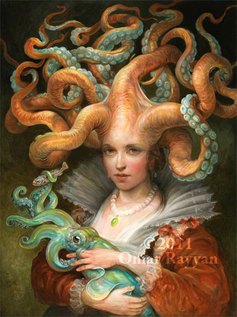 Contessa with Squid (extra large print) fantasy art octopus woman on Etsy, $85.00