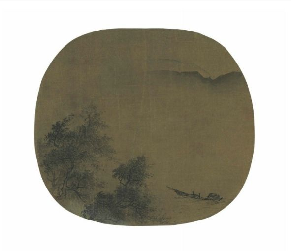 Xia Gui (Active Ca. 1195-1230) Fisherman Returning to Shore in a Storm. Oval fan, mounted and framed, ink and light color on silk