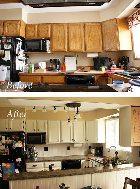 painting oak cabinets for the home pinterest on kitchen cabinets painted before and after id=48269