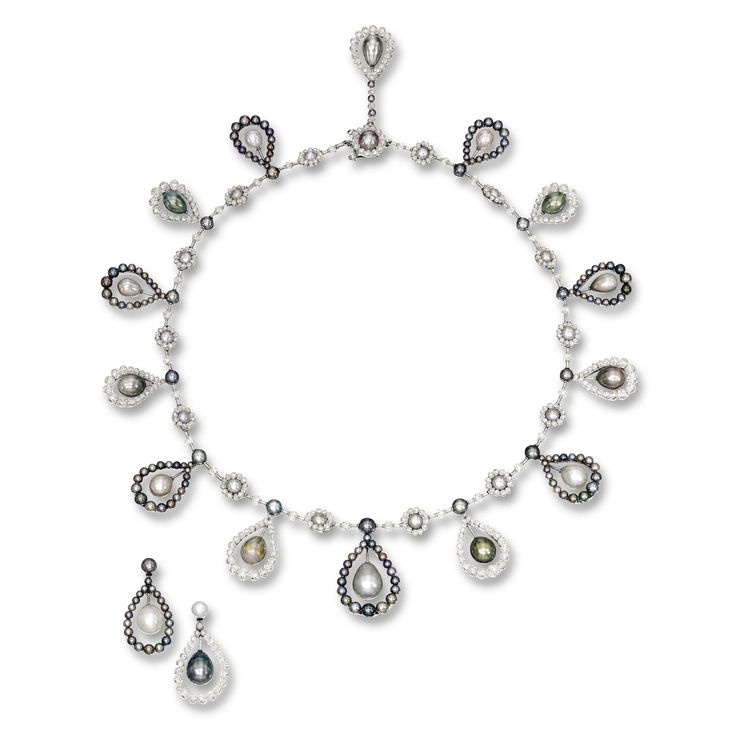 Natural Pearl and Diamond Necklace and Pair of Matching Earrings | Lot | Sotheby's