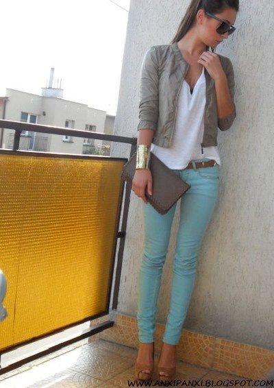 Mint skinnies,grey jacket. Pretty combo