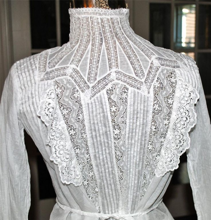 Stunning White Cotton French Tape Lace Edwardian Bodice Blouse | eBay