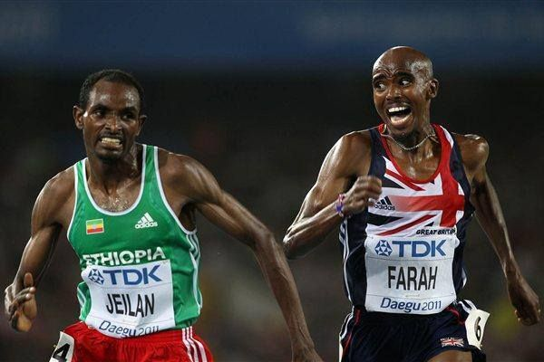 Ibrahim Jeilan (Oromia, silver) and Mo Farah (Britain, gold) in 10,000k Moscow World Athletics 2013 final race. All are Cushitic East Africa and Great finish!!!