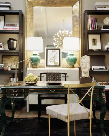 Chic offices - jade lamps, antiqued desk, gold.  seriously lux eye at work here.
