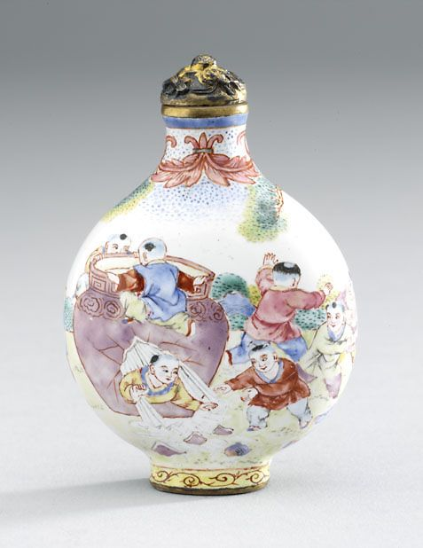 Enameled copper snuff bottle 1750 - 1900 AD Qing Dynasty China; Asia