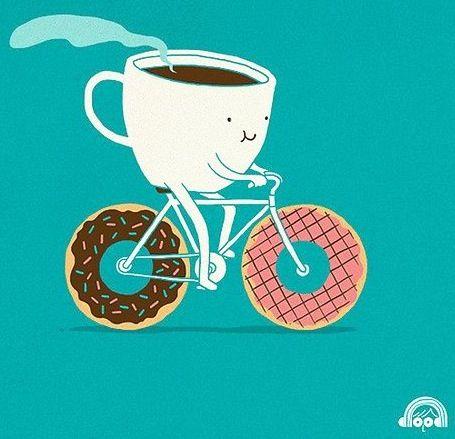 Cup of coffee riding a bike cartoon quote via www.Facebook.com/WildWickedWomen