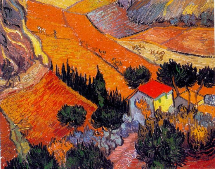 Vincent van Gogh  Landscape with House and Ploughman, 1889  Hermitage, St. Petersburg, Russia.