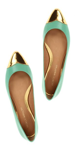 Mint & gold pointy toe flats