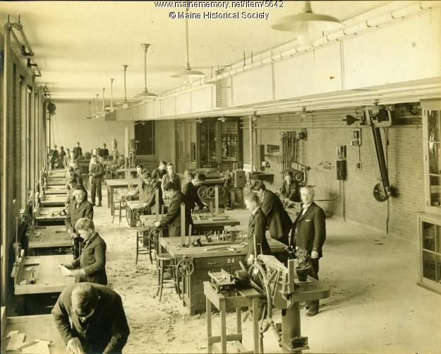 Woodworking class, Portland High School, ca. 1920