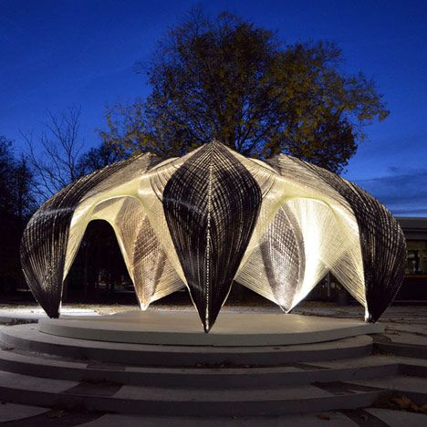 A robot was programmed to wind 60 kilometres of carbon and glass fibre filaments into this pavilion inspired by a lobster's exoskeleton