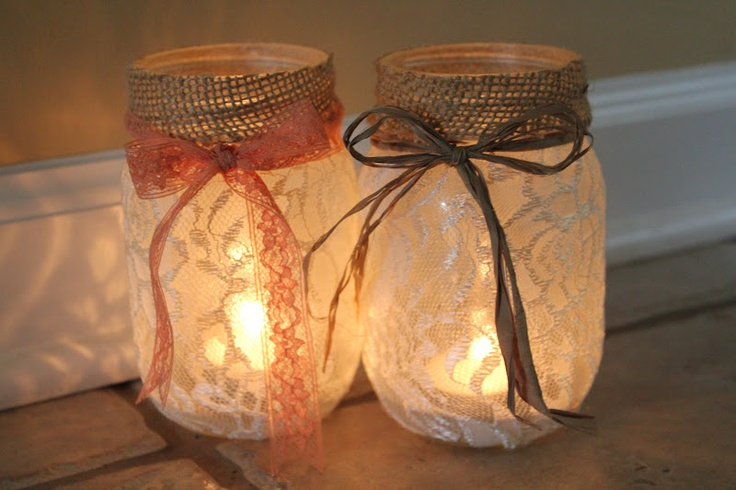 mason jar/jars, lace fabric, burlap, twine or any sort of ribbon, glue (I used Elmer's Craft Bond Multi-Purpose Spray Adhesive), scissors, tea light/lights