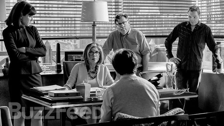 "Inside Diane Lockhart's office: Julianna Margulies, Christine Baranski, and Robert King. | Exclusive: 17 Behind-The-Scenes Photos From ""The Good Wife"""