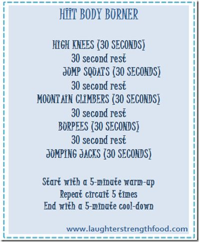 50 seconds on, 10 seconds rest. Vacation workout HIIT body Burner