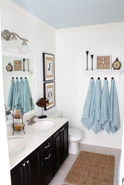 Beach Cottage Bathroom Inspiration ~ Wall Decor and Storage