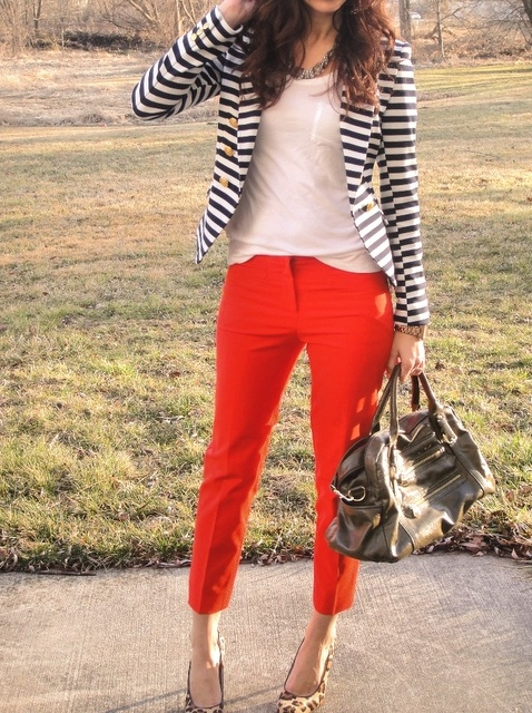 Red Pants + Striped Blazer. Saw a cute one at Sam's, maybe I should get it.